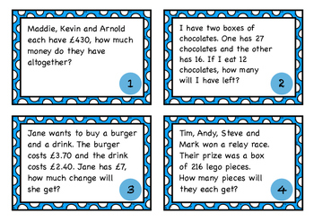 Word Problems Task Cards - Addition, Subtraction, Multiplication & Division (UK)