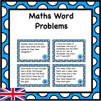 Word Problems Task Cards - Addition, Subtraction, Multipli