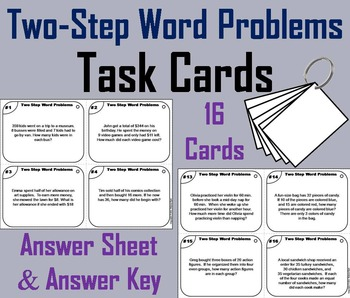 3rd 4th 5th Grade Word Problems Task Cards