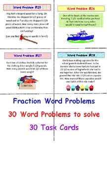Word Problems Task Cards (Fractions)