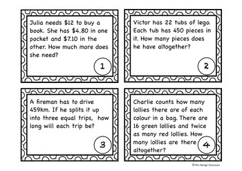 Word Problems Task Cards - Red Set (AU)
