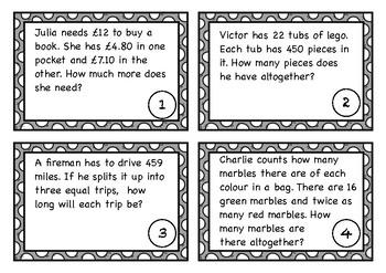 Word Problems Task Cards - Red Set (UK)