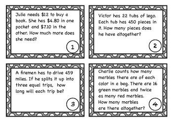 Word Problems Task Cards - Red Set (US)