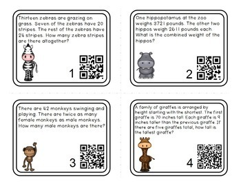 Word Problems Math Task Cards for 4th Grade