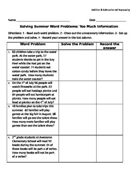 Word Problems - Too Much Information