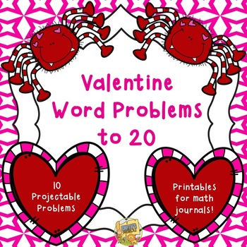 Word Problems - Valentine Themed - Adding and Subtracting to 20 Grades 1-2