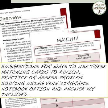 Venn Diagram Word Problems Task Card Activity