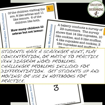 Venn Diagram Word Problems Task Card Activity