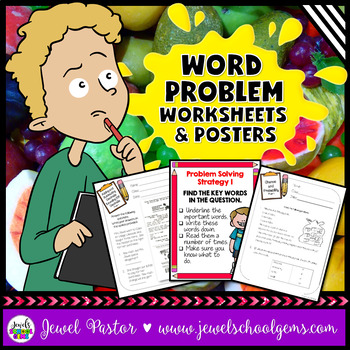Word Problems Activities (Worksheets + Math Problem Solving Strategies Posters)