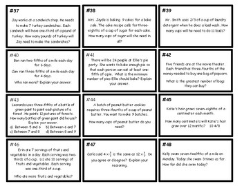 Word Problems  With Multiplying a Fraction By a Whole Number CCSS: 4.NF.B.4.C