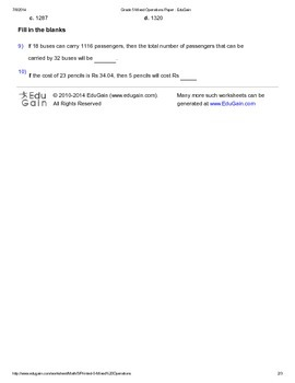 Word Problems Worksheet 1 - Mixed Operations