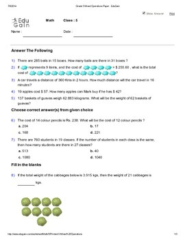 Word Problems Worksheet 2 - Mixed Operations