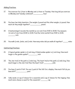 Word Problems Worksheet Add Subtract Decimals Fractions Order of Operations