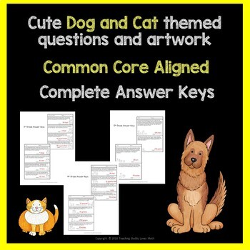 Word Problems Worksheets Dogs and Cats 3rd 4th 5th Grade Common Core
