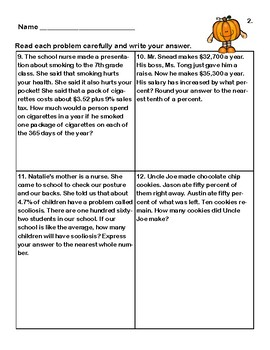 Word Problems-Worksheets -Percent-Middle School