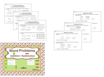 Word Problems Worksheets with Pictures (Addition / Subtraction) :
