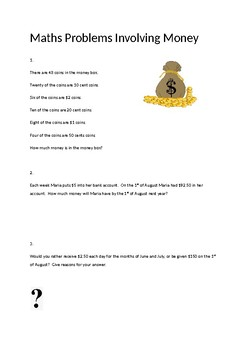 Word Problems about Money