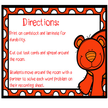 Word Problems (addition/subtraction) Task Cards SCOOT game {CCSS aligned}