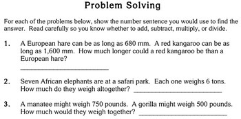 Word Problems, choose operation, 3rd grade - Individualized Math - worksheets