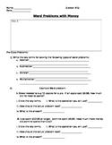 Word Problems focused on Money Worksheet