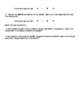 Word Problems focused on Money Worksheet