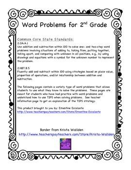 2nd Grade Math: 2.OA.A.1 Word Problems for 2nd Grade
