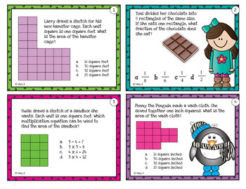 Word Problems for Area (Third Grade) - Print with or without QR codes
