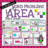 Word Problems for Area (Third Grade) - Print with or witho