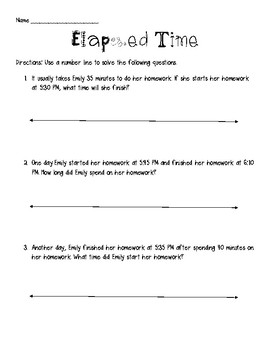 Word Problems for Elapsed Time