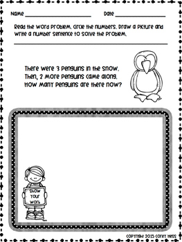Word Problems for K & 1 (Addition and Subtraction) #1-10 and #11-20 Packets