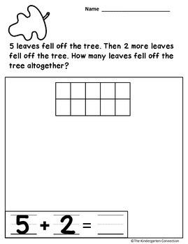 Word Problems for Kindergarten - November Edition