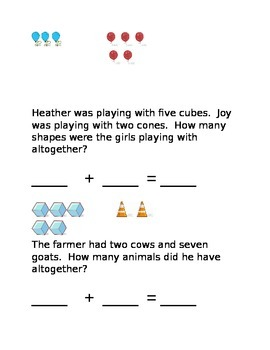 Word Problems for Kinders - Addition