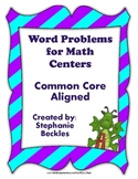 Word Problems for Math Centers - common core