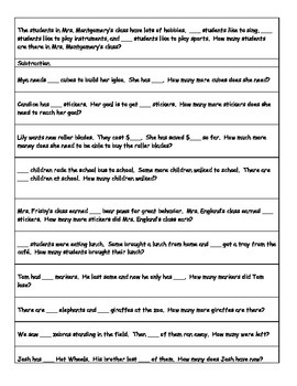Word Problems for Math Meetings or Guided Math