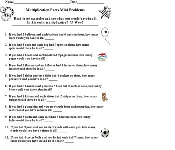 Word Problems for Multiplication Facts