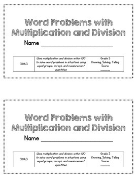 Word Problems for Multiplication and Division 3.OA.3