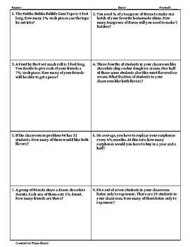 Word Problems for Multiplying & Dividing Fractions Worksheet