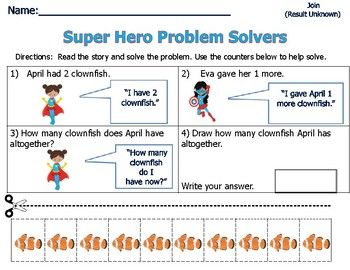 Word Problems for Primary Students - Sum of 3