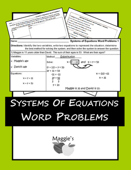 Word Problems for Systems of Equations using Graphic Organizers