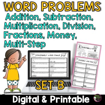 Word Problems for Third Grade-SET B! Over 100 Problems! Th