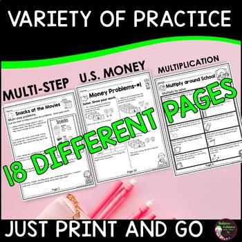 Word Problems for Third Grade-Set A! over 100 problems!