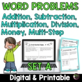Word Problems 3rd Grade Worksheets Set A | Digital and Printable