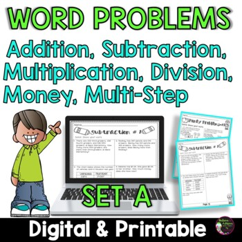 Word Problems for Third Grade-Set A! over 100 problems! 18 pages!