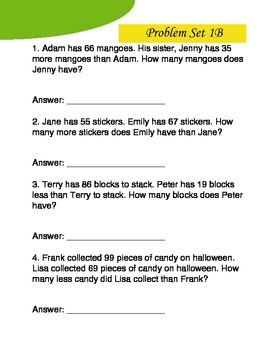 Word Problems for Third Graders