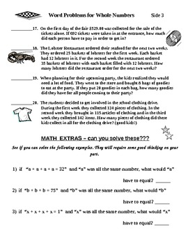 "Word Problems for Whole Numbers ""One"""
