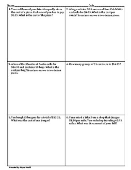Word Problems for all Operations on Decimals Worksheet