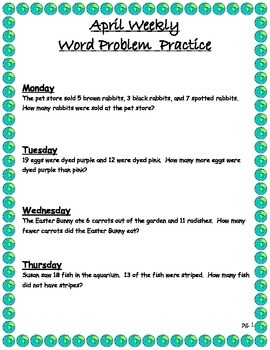 Word Problems for the Entire year!