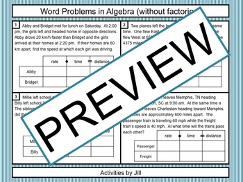 Word Problems in Algebra (without factoring)