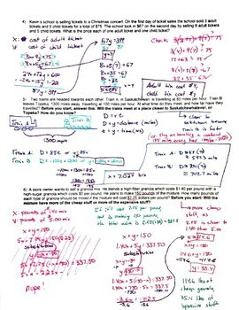 Word Problems in Systems of Equations - Algebra II Trig Ch1.2 (systems) Hw2