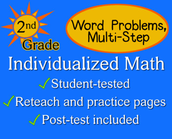 Word Problems, multi-step, 2nd grade - Individualized Math - worksheets